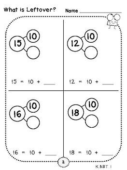 Find the Leftover Place Value Pages (***FREEBIE***Kindergarten-K.NBT.1)