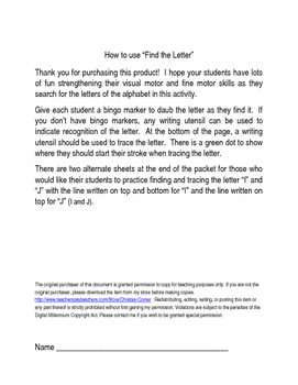 Find the Letter Activity Sheets