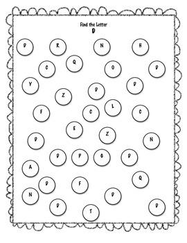 Find the Letter Bingo Dauber Activity
