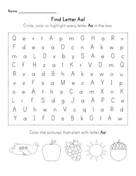 Find the Letter - Letter Aa