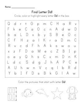 Find the Letter - Letter Dd
