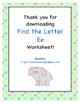 Find the Letter - Letter Ee