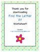 Find the Letter - Letter Ff