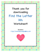 Find the Letter - Letter Hh