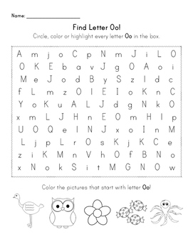 Find the Letter - Letter Oo by Planning in PJs | TpT