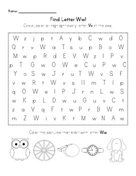 Find the Letter - Letter Ww