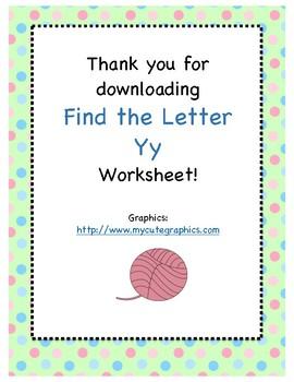 Find the Letter - Letter Yy