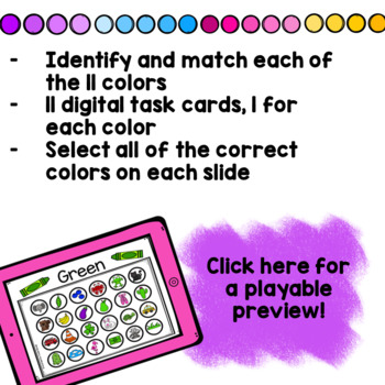 Find the Colors Boom Cards! Color Recognition FREEBIE