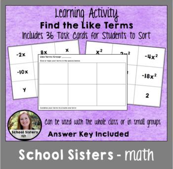 Find the Like Terms Class Activity