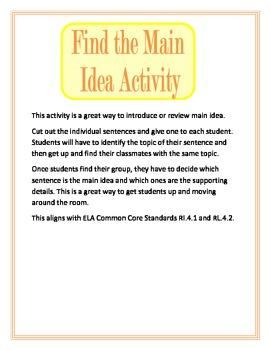 Find the Main Idea Activity