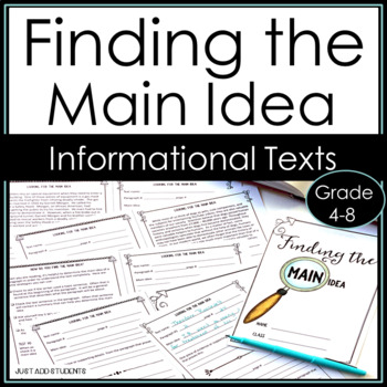 Find the Main Idea:  Practice Booklet for Informational Texts.  {grades 4 - 8}