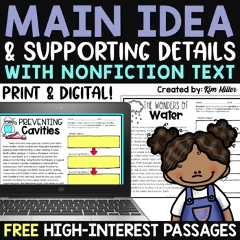 Finding the Main Idea with Supporting Details {SAMPLE FREEBIE}