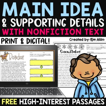 Finding the Main Idea with Supporting Details - Winter Passages [FREE SAMPLE]