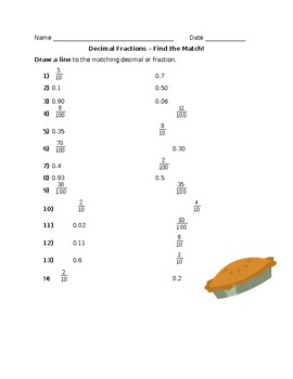 Find the Match - Decimals and Fractions