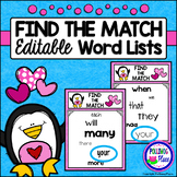 Find the Match Editable Sight Word Game - Valentine Penguins