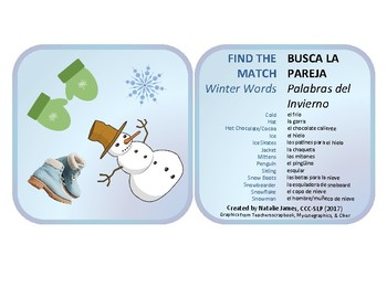 Bilingual Find the Match Winter Theme