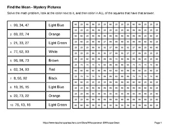 Find the Mean - Color-By-Number Mystery Pictures - Pets Theme