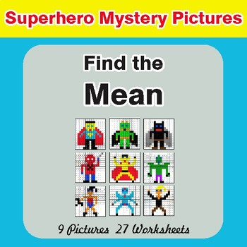 Find the Mean (Math Average) - Color-By-Number Superhero Mystery Pictures