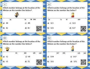 Find the Minion!  Number Line Pattern Task Cards with QR Codes