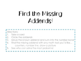Find the Missing Addend Game