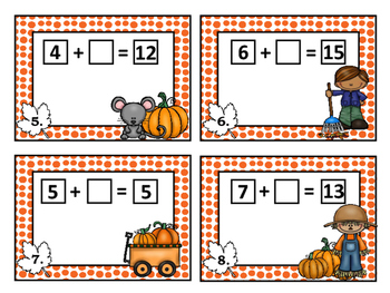 Fall Theme Task Cards - Finding the Unknown {Addition within 20}