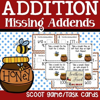Addition Missing Addends Scoot Game/Task Cards