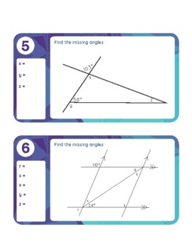 Find the Missing Angle Task Card Puzzles