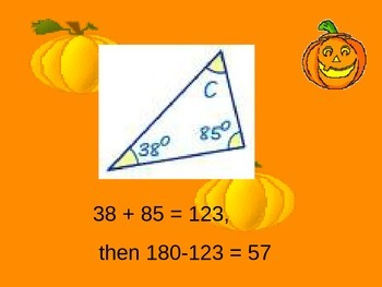 Find the Missing Angle in a Triangle Powerpoint Halloween Theme