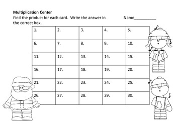 Multiplication Center and Worksheets--Christmas Theme