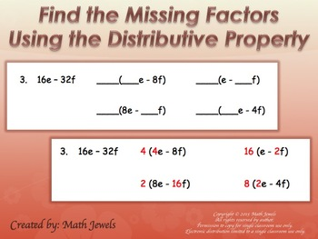 Find the Missing Factors Using the Distributive Property