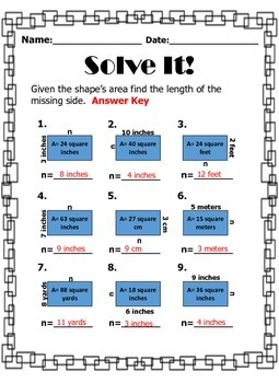 Find the Missing Length Area and Perimeter