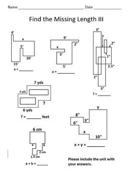 Find the Missing Length Worksheet III