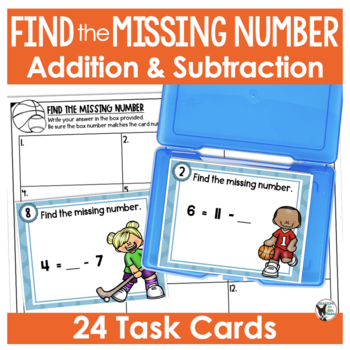 Find the Missing Number Scoot Game/Task Cards- Sports Themed