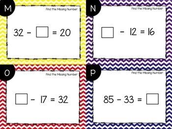 Find the Missing Number Subtraction Task Cards {Digital}