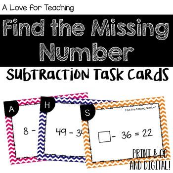 Find the Missing Number Subtraction Task Cards {Paper + Digital}