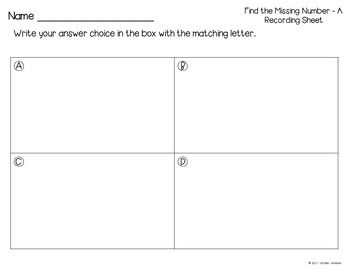 Find the Missing Number Task Cards - Balancing Equations