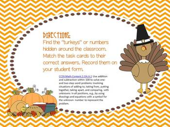 Find the Missing Number Thanksgiving Center Activity - Common Core Aligned