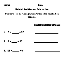Find the Missing Number and Write the Related Subtraction Sentence