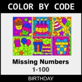 Find the Missing Numbers (1-100) - Color by Code / Colorin