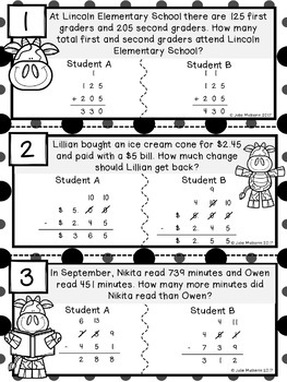 Addition and Subtraction Word Problems Error Anaylsis Task Cards
