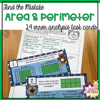 Area and Perimeter Error Analysis Task Cards