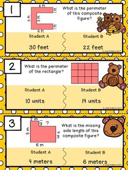 Area and Perimeter Error Analysis Task Cards Bundle