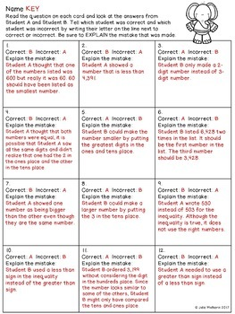Comparing and Ordering Numbers Error Analysis Task Cards