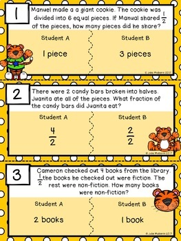 Fraction Word Problems Error Analysis Task Cards