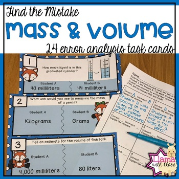 Find the Mistake: Measuring Mass and Volume Task Cards