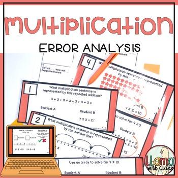 Multiplication Strategies Error Analysis Task Cards