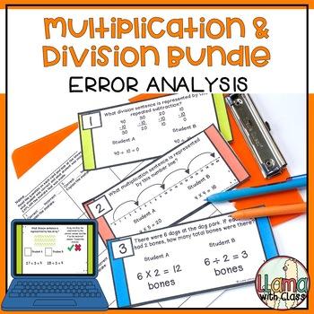 Multiplication and Division Error Analysis Task Card Bundle