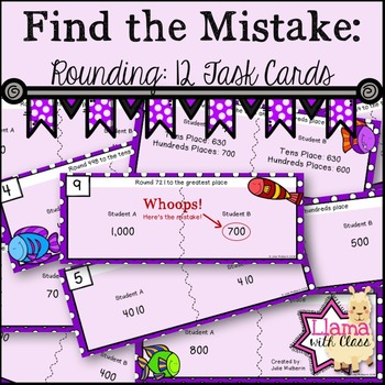 Find the Mistake: Rounding Task Cards