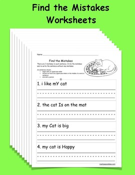 Find the Mistakes Worksheet