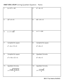 Quadratic Equations Activity: First Step, Stop!
